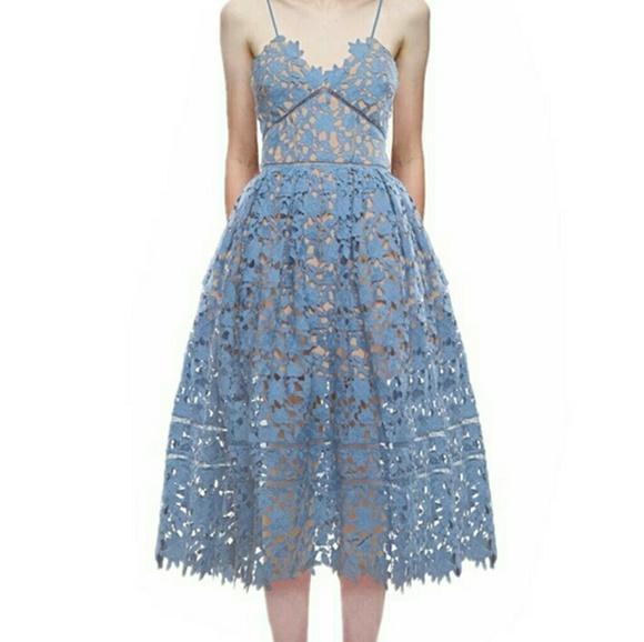 4be32b790633 Self-Portrait Dresses | Blue Floral Lace Self Portrait Tea Length ...